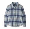 Patagonia Womens L/S Fjord Flannel Shirt Upriver: Woolly Blue (Close Out)