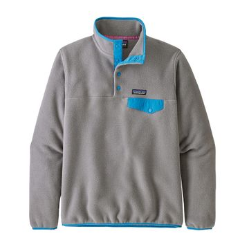 Patagonia Womens Lightweight Synchilla Snap-T Fleece Pullover Feather Grey w/ Joya Blue (close out)