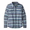 Patagonia Womens Long Sleeve Fjord Flannel Folk Dobby: Stone Blue