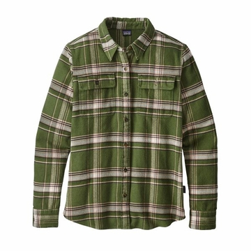 Patagonia Womens Long Sleeve Fjord Flannel Shirt Activist Big: Nomad Green (close out)