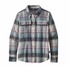 Patagonia Womens Long Sleeve Fjord Flannel Spectra: Cadet Blue (close out)