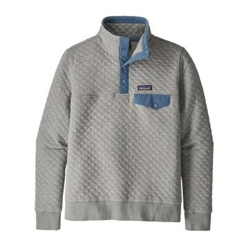 Patagonia Womens Organic Cotton Quilt Snap-T Pullover Drifter Grey w/ Woolly Blue (Close Out)
