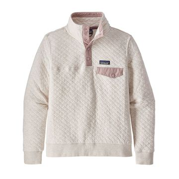 Patagonia Womens Organic Cotton Quilt Snap-T Pullover Dyno White w/ Hazy Purple