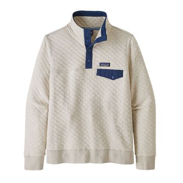 Patagonia Womens Organic Cotton Quilt Snap-T Pullover Pelican w/ Stone Blue (Close Out)