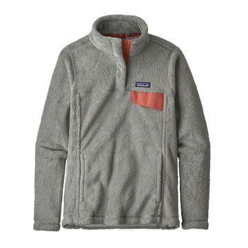 Patagonia Womens Re-Tool Snap-T Fleece Pullover Tailored Grey/ Nickel X-Dye w/ Aurea Pink (Close Out)