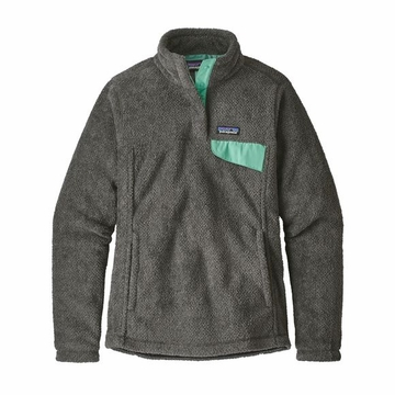 Patagonia Womens Re-Tool Snap-T Pullover Feather Grey/ Ink Black w/ Njosa Green X-Dye