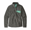 Patagonia Womens Re-Tool Snap-T Pullover Feather Grey/ Ink Black w/ Njosa Green X-Dye (close out)