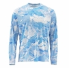 Simms Mens Solarflex Crewneck Shirt Cloud Camo Blue