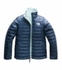 The North Face Girls Reversible Mossbud Swirl Jacket Blue Wing Teal/ Origin Blue