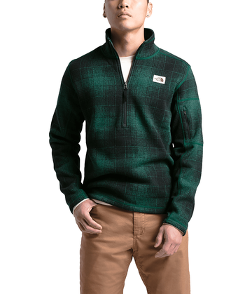 The North Face Mens Gordon Lyons Novelty 1/4 Zip Night Green Ombre Plaid Small Print (close out)