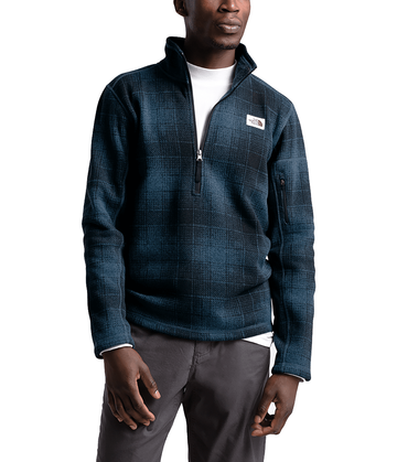 The North Face Mens Gordon Lyons Novelty 1/4 Zip Shady Blue Ombre Plaid Small Print (close out)