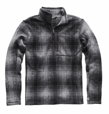 The North Face Mens Novelty Gordon Lyons 1/4 Zip Monument Grey Ombre Plaid Print