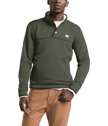 The North Face Mens Sherpa Patrol 1/4 Snap Pullover New Taupe Green Heather/Peyote Beige (Close Out)