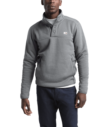The North Face Mens Sherpa Patrol 1/4 Snap Pullover TNF Medium Grey Heather/Peyote Beige (Close Out)