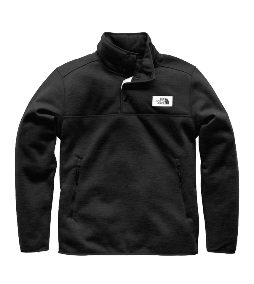 9181cc9bc65 The North Face Mens Sherpa Patrol 1 4 Zip Snap Pullover Weathered Black  Heather (Close Out)