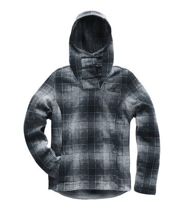 The North Face Womens Crescent Hooded Pullover Mid Grey Ombre Plaid Small Print (Close Out)