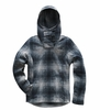 The North Face Womens Crescent Hooded Pullover Mid Grey Ombre Plaid Small Print