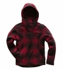 The North Face Womens Crescent Hooded Pullover Rumba Red Ombre Plaid Small Print