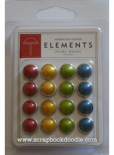 American Crafts Elements Pearl Brads Primaries 16/Pkg