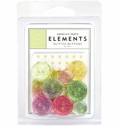 American Crafts: Glitter Buttons 24/Pkg - Pastels (S/O)