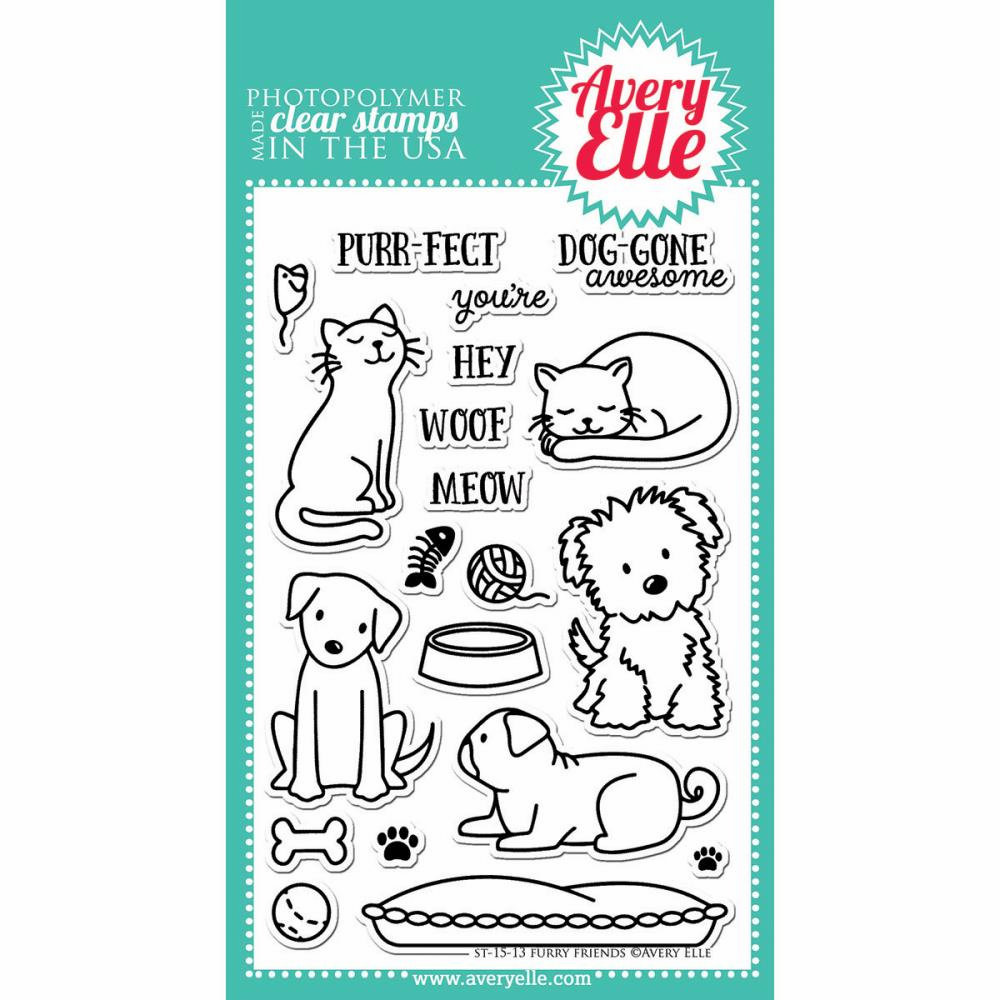 Avery Elle Furry Friends Clear Stamps - S/O