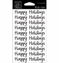 Bazzill Basics Seasonal Words Rub-Ons Happy Holidays