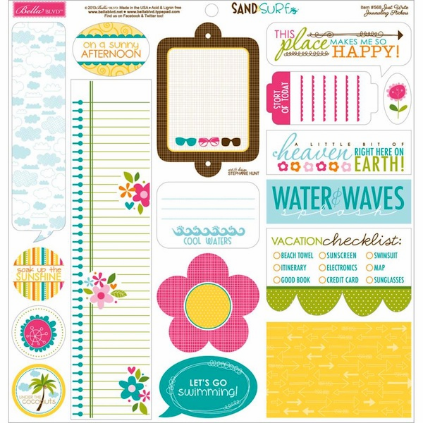 """Bella Blvd - Sand & Surf - Cardstock Stickers 12""""x12"""" - Just Write Journaling - S/O"""