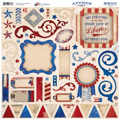 "Bo Bunny - Anthem - Chipboard 12""x12"" Sheet (S/O)"