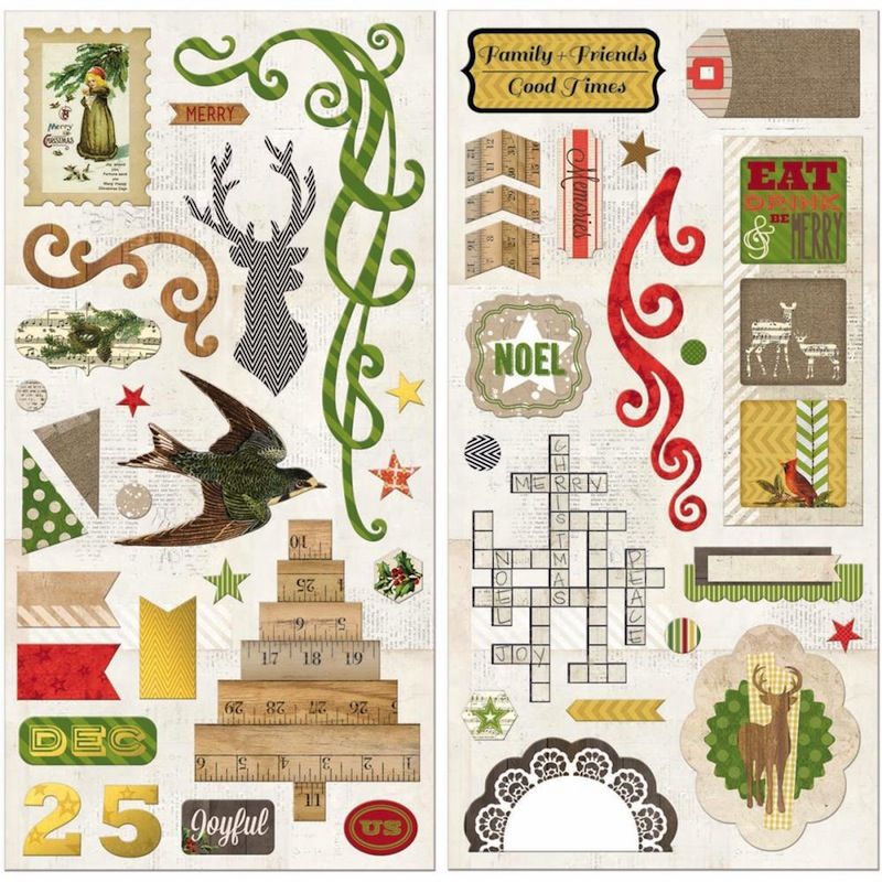 Bo Bunny Christmas Collage Self-Adhesive Chipboard