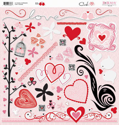 "Bo Bunny - Crush - Chipboard 12""X12"" Sheet"