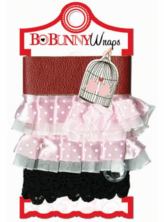 Bo Bunny: Crush - Pink Ruffle Wraps Ribbon & Trim Card