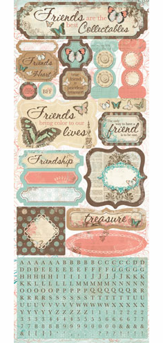 Bo Bunny - Gabrielle - Cardstock Stickers True Friend