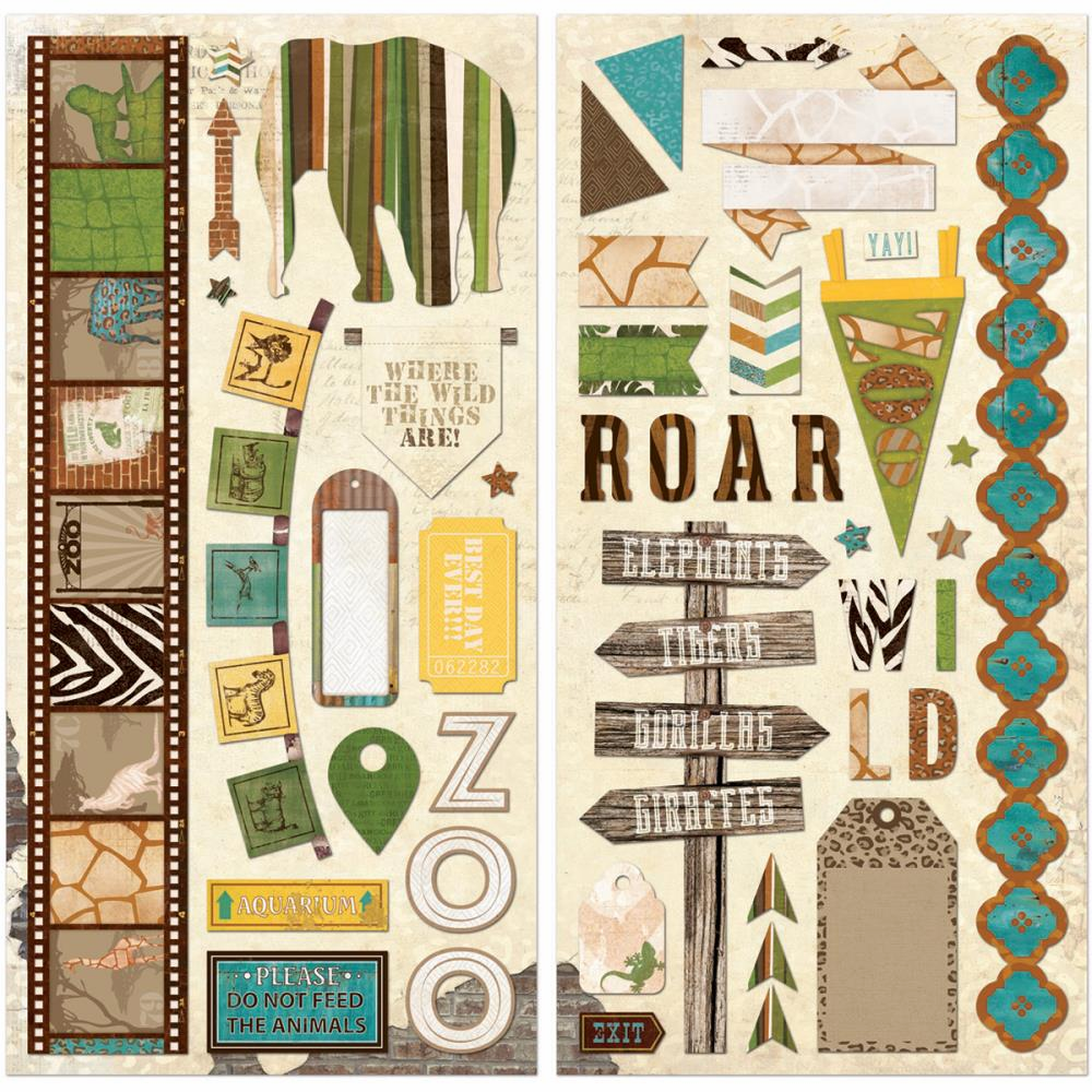 Bo Bunny - Safari - Self-Adhesive Chipboard