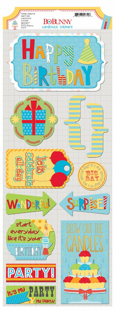 Bo Bunny - Surprise! - Party Time Cardstock Stickers
