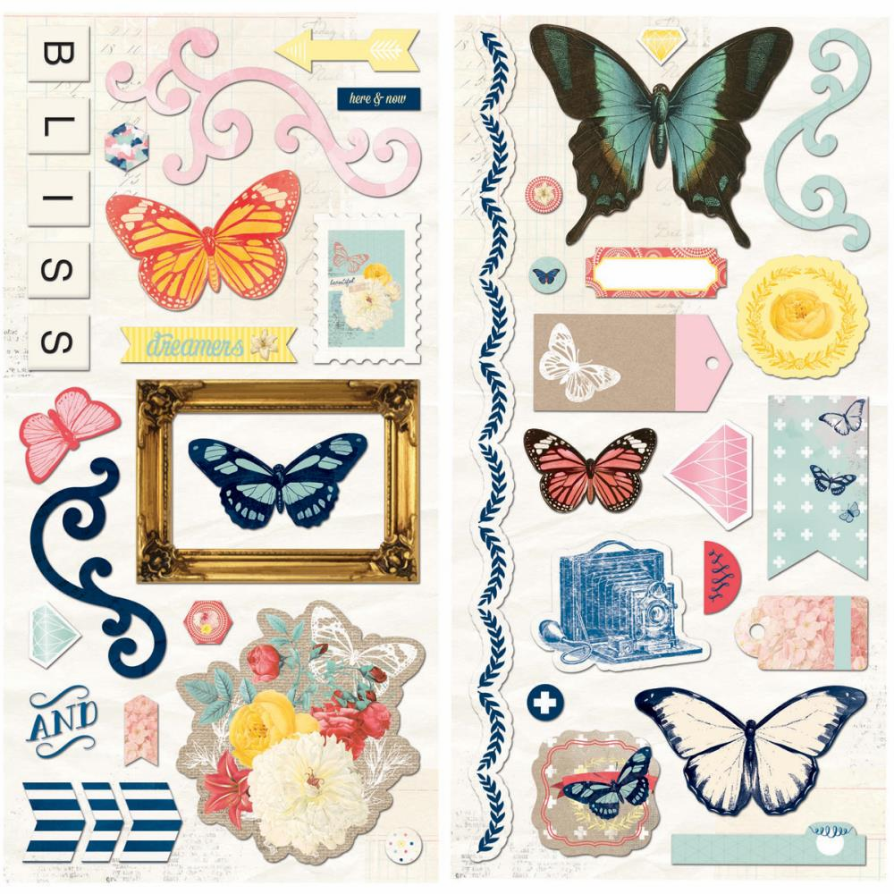 Bo Bunny Sweet Life Self-Adhesive Chipboard