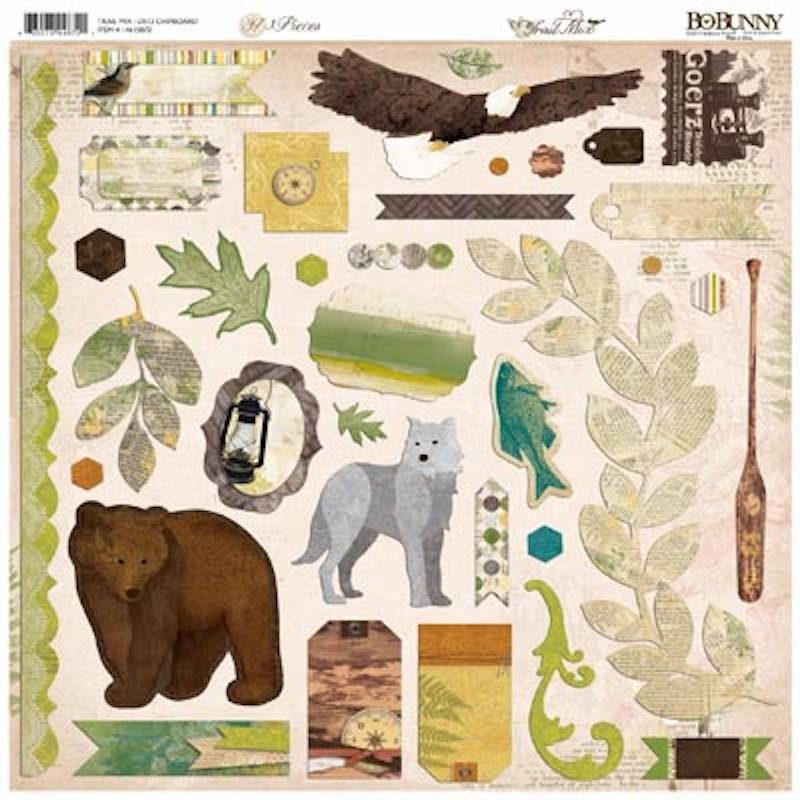 "Bo Bunny - Trail Mix - Chipboard 12""x12"" Sheet - S/O"