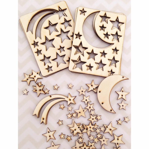 Cosmo Cricket - Wood Charms - Stars - S/O