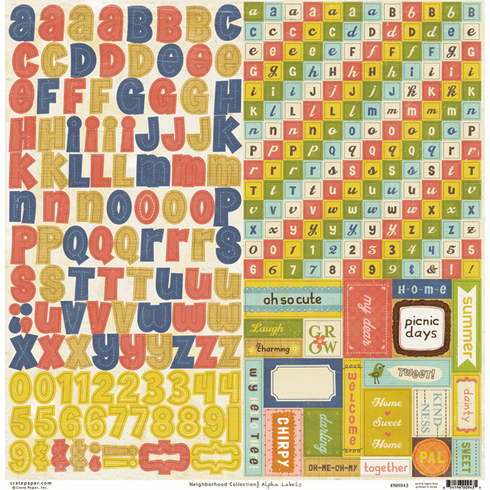 "Crate Paper - Neighborhood - Alpha Labels Cardstock Stickers 12""x12"" Sheet"