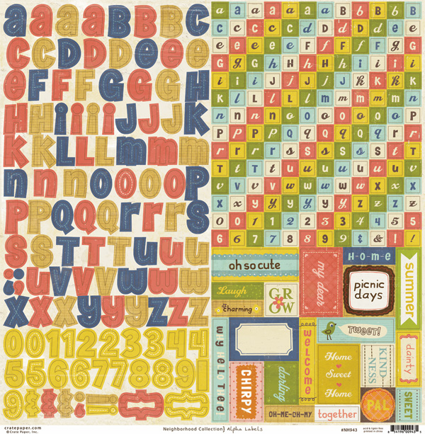 "Crate Paper: Neighborhood - Alpha Labels Cardstock Stickers 12""x12"" Sheet"