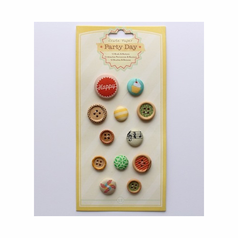 Crate Paper - Party Day - Brads & Buttons Assortment  - S/O