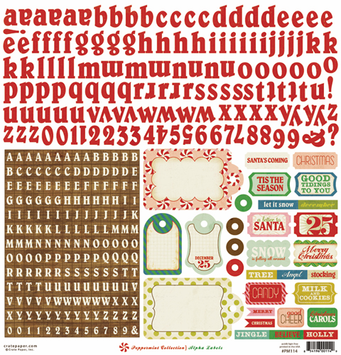 "Crate Paper: Peppermint - Alpha Labels Cardstock Stickers 12""x12"" Sheet"