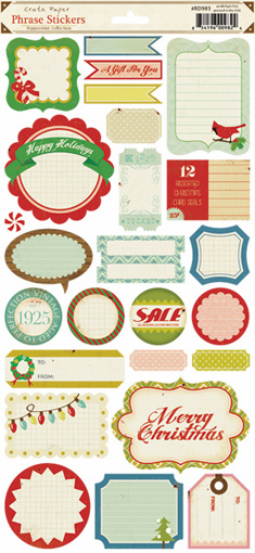 Crate Paper: Peppermint - Phrase Cardstock Stickers