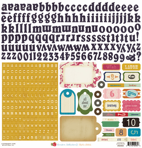 "Crate Paper: Random - Alpha Labels Cardstock Stickers 12""x12"" Sheet"