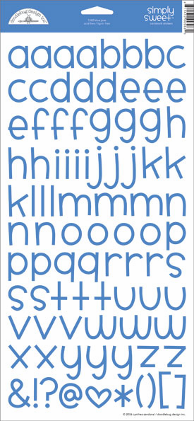 Doodlebug: Simply Sweet - Blue Jean Cardstock Alphabet Stickers - S/O