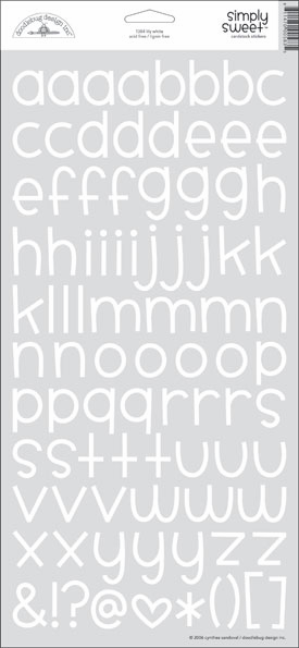 Doodlebug: Simply Sweet - Lily White Cardstock Alphabet Stickers - S/O