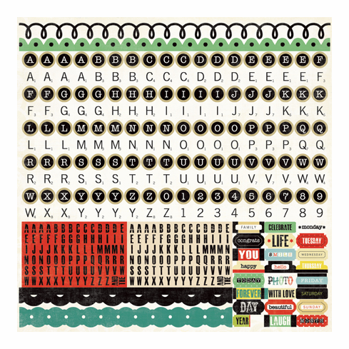 """Echo Park Paper: For The Record - Alpha Stickers 12""""x12"""""""