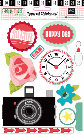 Echo Park Paper: Happy Days - Layered Chipboard Stickers - S/O