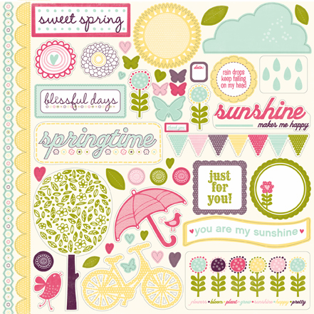 "Echo Park Paper: Springtime - Element Stickers 12""x12"" - S/O"