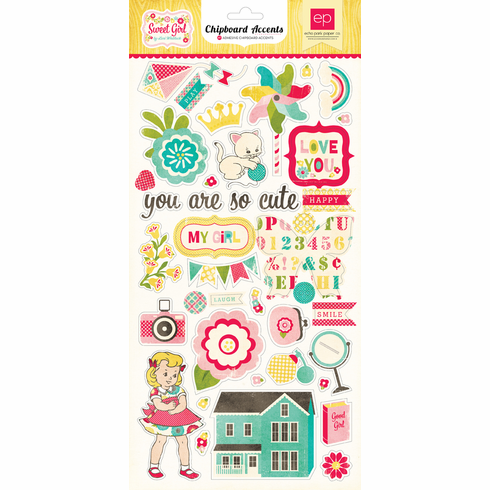 """Echo Park Paper - Sweet Girl - Chipboard Accent Stickers 6""""X12"""" - S/O"""