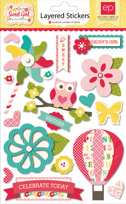 Echo Park Paper - Sweet Girl - Layered Stickers - S/O